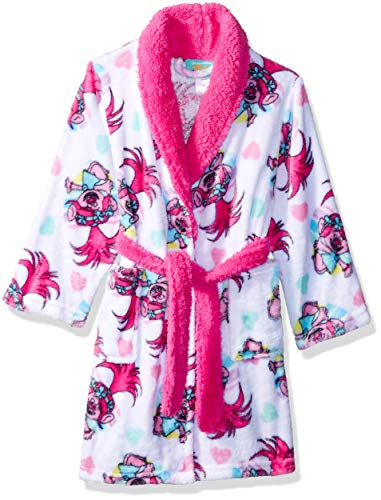 DreamWorks Girls' Big Luxe Plush Robe, True Trolls Love, 8