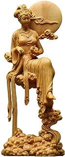 月の神 嫦娥 中秋 置物 木彫り 天女像 中国神話人物 手作り 美術品 中秋の贈り物 (高さ18cm×巾6.5cm×奥行6cm)