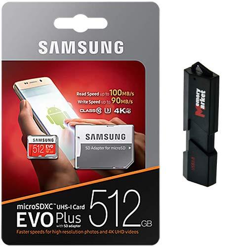 Samsung Evo Plus 512GB MicroSD XC 100MBs UHS I Speicherkarte fur Samsung Galaxy Note 8 9 10 Plus 5G mit USB 30 MemoryMarket Dual Slot MicroSD SD Speicherkartenleser