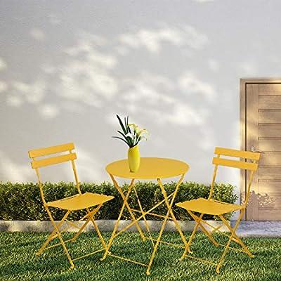INOVIX Grand Patio Bistro Set Outdoor Metal Patio Bistro Set Foldable Patio Table and Chairs 6 Colors (Yellow)