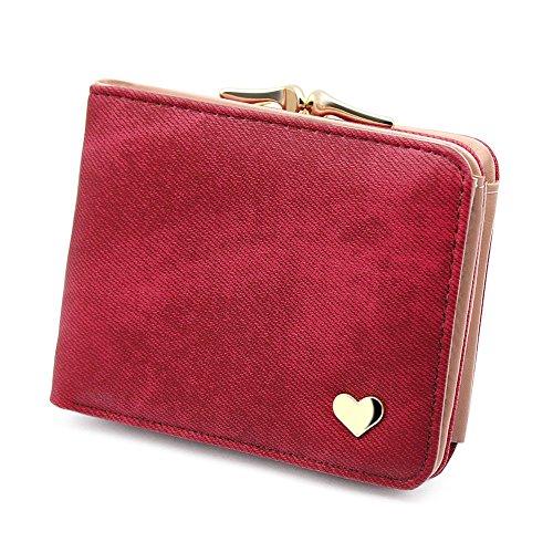 Damen Kleine Herz Dekoration Geldbörse Portemonnaie kurzer Kleine Geldbeutel Große Kapazität Wallets (Rot)