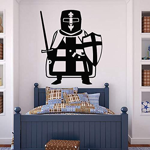 Tianpengyuanshuai Cruzado Guerrero Caballero Pegatinas de Pared Bebé Habitación Espada Escudo Vinilo Tatuajes de Pared Sala de Estar Decoración de Aula Arte 51x63cm