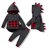 Infant Baby Boy Outfits Long Sleeve Plaid Toddler Boy Clothes Sweatshirt Fall Winter 1-2T Boy Clothes