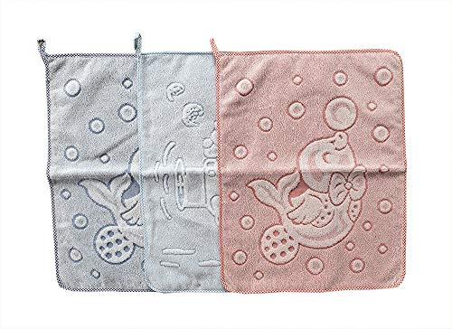 Salviette asciugamani set tre pezzi asilo nido scuola materna colori azzurro verde da bambino bimbo maschio prodotto in italia 100% cotone