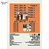 Kanye West Poster Album Cover Poster The Life of Pablo Tracklist Vertical Poster No Frame
