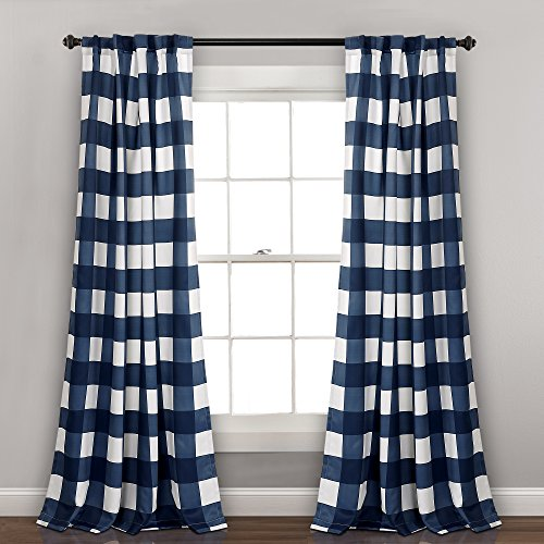 "Lush Decor Room Darkening Window Curtain Panel, 84"" x 52"", Navy"