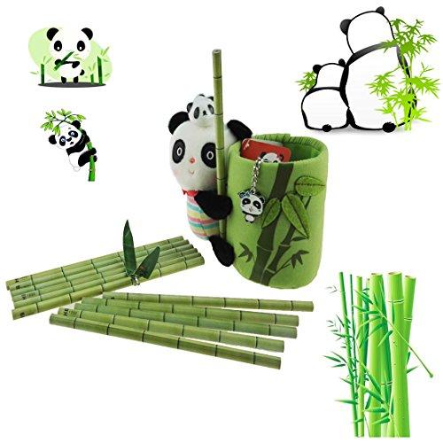 Apol Panda and Bamboo Theme Stationery Set Include 12pcs Bamboo Pencils 1pc Pencil Holder 1pc Panda Keychain 1pc Ceramic Panda Toy for Kids Study Gift