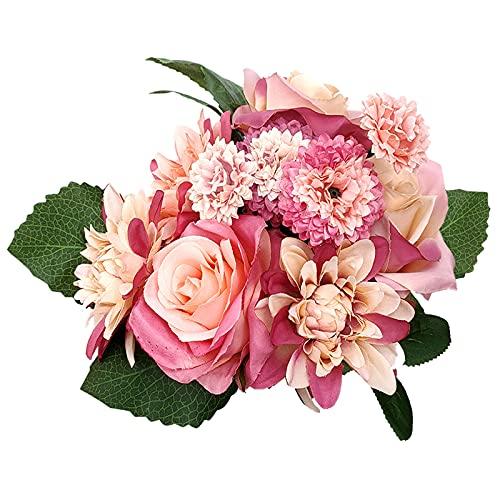 DOUBFIVSY Fiore Artificiale, 10pcs Fiori Finti Bouquet di Simulazione di Rosa Dalia Ortensia in Seta Fiori Realistici per Matrimonio Casa Giardino Feste Decorazione Cimitero (Rosso Alba)
