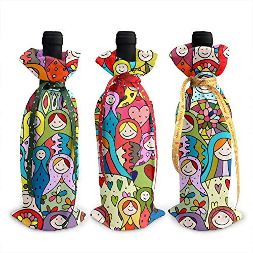 3pcs Christmas Wine Bottle Cover 3d Russian Nesting Dolls Wines Bottles Decoration Bags For Xmas New Year Party Birthday Dinner