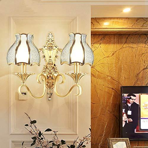 ETH Style Européen Salon Complet Lampe Murale en Cuivre Balcon Américain Couloir Extérieur Extérieur Sconces Méditerranée Étanche Éclairage Mur Action de grâces (Couleur : 2 Light)