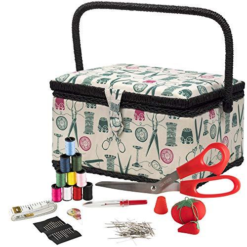 SINGER 07271 Korb mit Nähanleitung und herausnehmbarem Tablett, Vintage-Spulen, hellbraun