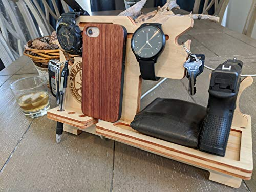 Patriot Plaque Night Stand Gun Valet, Caddy, Organization Stand with Cell Phone Holder for Charging, Holds Key Wallet Magazine and Cell Phone Custom Personalization