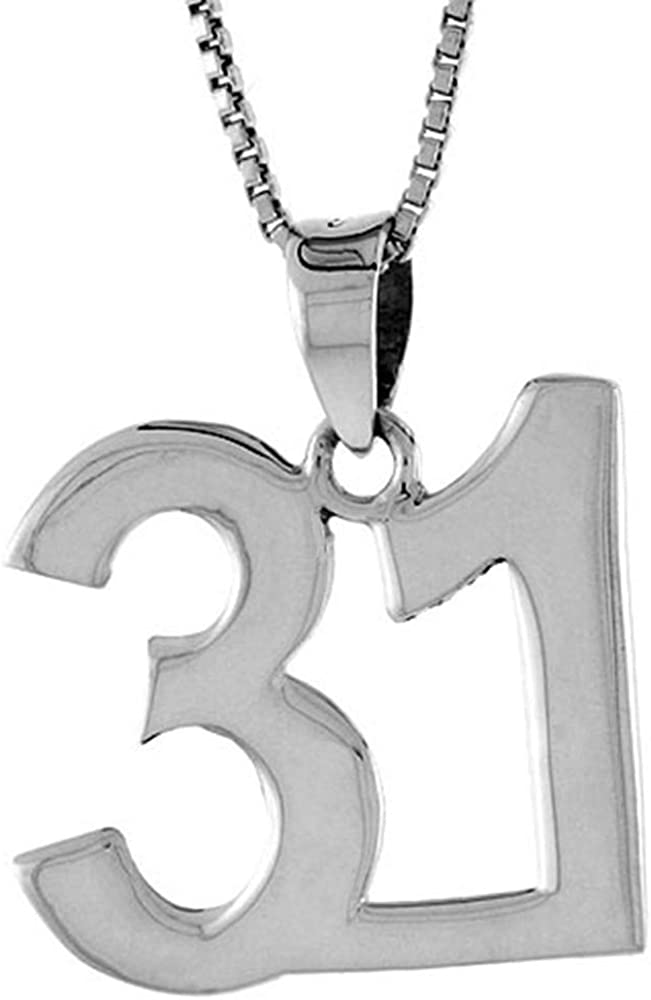 Sterling Silver Number 31 Necklace お得なキャンペーンを実施中 Numbers Recovery Jersey for 出荷