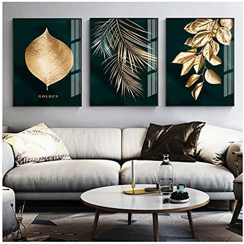 Cuadro en lienzo Lámina Abstracta Planta dorada Hojas Imagen Cartel de la pared Estilo moderno Pasillo Decoración de la sala 50x70cm (19.7