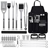 NIUJNE BBQ Grill Accessories Set 35PCS Stainless Steel Barbecue Grilling Tools for Men Women Gift Utensil with Storage Apron Spatula Tongs Skewers for Barbecue Camping