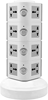 WorldWide Universal Vertical Multi Socket 220V Tower Extension Electrical Outlet Lead with USB Ports 3M Cord and UK-Plug P...