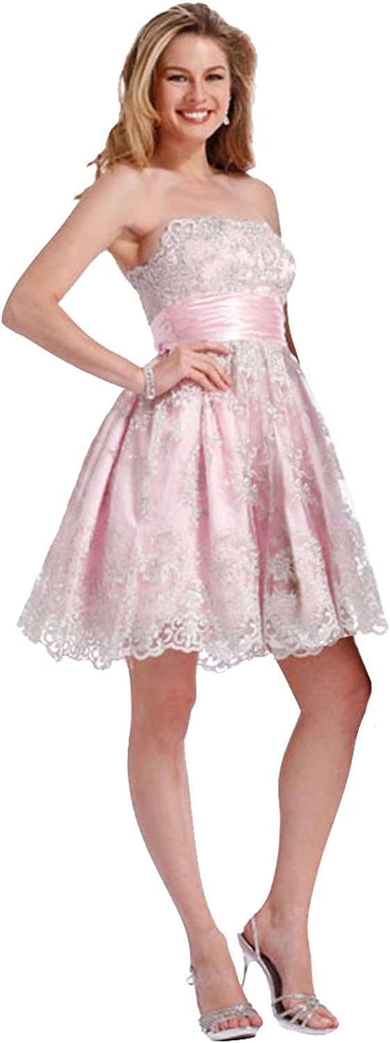 Clarisse Strapless Lace Short Prom Dress 1323
