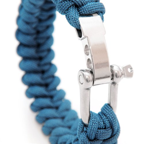 """Universell einsetzbares Survival-Seil (kompakt zum Armband geflochten) aus reißfestem \""""Parachute Cord\"""" / \""""Paracord\"""" / \""""550 cord\"""" (Kernmantel-Seil aus Nylon) und rostfreiem, größenverstellbarem Metall- Schraubverschluss, Gesamtlänge 23 cm, Farbe: blau WICHTIG: DIESES PARACORD SEIL IST NICHT ZUM KLETTERN GEEIGNET! - Marke Ganzoo"""