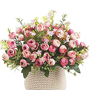 4Pack Artificial Penoy Flowers Bouquets Arrangement, 52Heads Fake Penoies Flowers Faux Aesthetic Spring Silk Flowers for Desk Home Wedding Outdoor Decoration, Gifts for Women(No Vase)