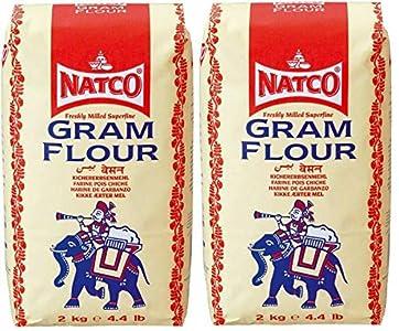 2 x 2kg Natco Gram Harina Besan Garbanzos Harina para Pakoras Cebolla Bhajis