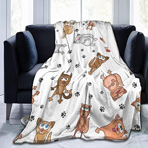 Manta de microfibra de franela con estampado de huellas de gato divertido con manta de felpa cálida y difusa manta de toalla ligera para cama, sofá, sala de estar, niños de 127 x 101 cm