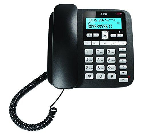 AEG Voxtel C110 - Teléfono con cable con altavoz (pantalla con retroiluminacion...