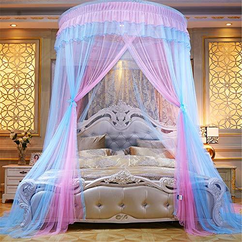 Meng Mosquitera Cúpula Neta, Princess Bed Canopy Lace Mosquito Net para Niñas Cama Cortinas Redondas Carpa Reading Nook,A6,2.0m Bed