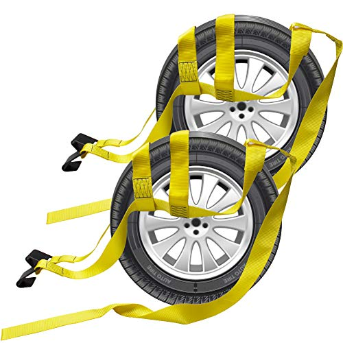 Bang4buck 2 Pieces Universal Adjustable Tie Down Tow Straps 15' to 20' Rim Size for Demco Kar Kaddy Dollys with 2 Flat Hooks (5' to 20' Rim Tow Strap_Yellow)