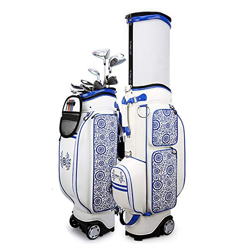 Affordable DUOUH Golf Retractable Bag, Ladies Blue and White Porcelain Printed Waterproof Hard Shell...