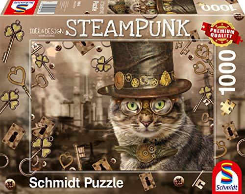 Schmidt Spiele Puzzle 59644 Markus Binz, Steampunk Katze, 1.000 Teile Puzzle, bunt