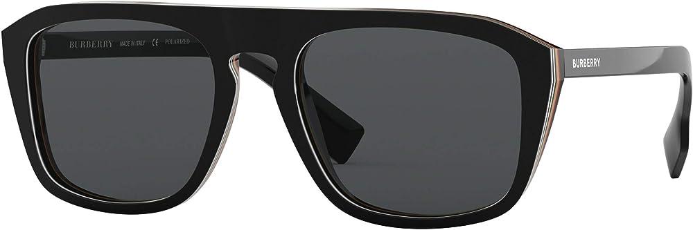 Burberry burberrys, occhiali da sole per uomo, di forma squadrata, in acetato nero, lenti di colore grigio BE4286