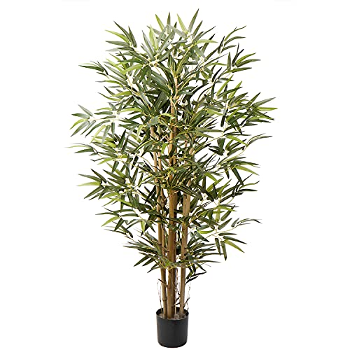 Artificial Bamboo Silk Tree 4ft Fake Greenery Plants in Pot 48 Inch for Home Office Indoor Outdoor Decor