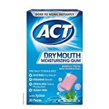 ACT Dry Mouth Moisturizing Gum with Xylitol, Sugar Free Bubble Fresh, 20 Pieces