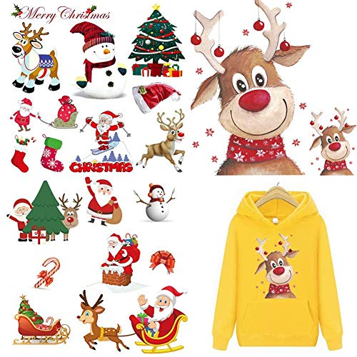 Christmas Iron On Patches Heat Transfer Stickers, Deer Snowman Santa Claus Applique Repair Patch for Kids Clothing, Cartoon Pattern Washable Patches Decorative for Jeans T-Shirt (4 Sheets)
