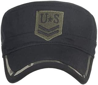 Vintage Washed Denim Cotton Peaked Baseball Cap Distressed-Adjustable Army Cap Comfy Cadet Hat Flat Top Cap Baseball