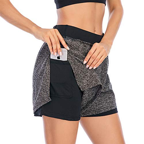 Sporthose Damen Kurz 2 in 1, Teenager Mädchen High Waist Kurze Yoga Leggings mit Handytasche Hohe Taille Hosen Sportleggin Jogginghose Training Fitness Laufshorts Radlerhose Biker Shorts (Schwarz,L)