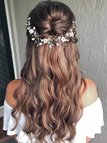 Mayelia Blumen-Braut-Haarreif, Hochzeits-Haarschmuck, silberne Perlen, langes Haarband, Blatt-Styliste, Haarteil für Frauen und Mädchen
