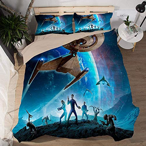 RONGXIE Duvet Cover Single - Washed Microfiber Bed Cover With Zipper Closure & Corner Ties, Breathable Soft Hypoallergenic 3 Piece Duvet Covers Set- Blue Space Planet Spaceship Warrior - King (220 X