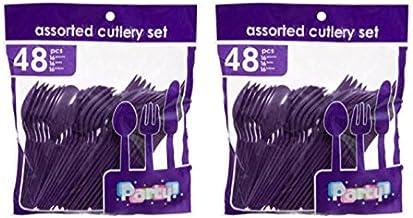 Heavy Duty Plastic Cutlery Set in Purple - 32 Spoons, 32 Forks, 32 Knives