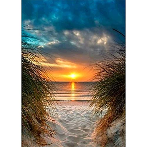 DIY 5D Diamond Painting Kits, Full Drill Diamond Painting for Adults and Kids,Round Diamond Art Perfect for Relaxation and Home Wall Decor Gift(Sunset,12x16inch)