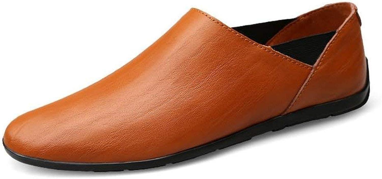 Herren Mokassins Schuhe, Mens Mens Mens Minimalismus Slip-on Loafers PU-Leder Fashion Driving Boat Mokassins Freizeitschuhe (Farbe   rot braun, Größe   47 EU) (Farbe   Wie Gezeigt, Größe   EinheitsGröße) 660