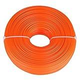 Ligne de Coupe-Fil de 2,4 mm Ligne de Fil de Nylon Corde Ronde Accessoires pour Coupe-Herbe à Essence Essence Bobine Orange(100m)