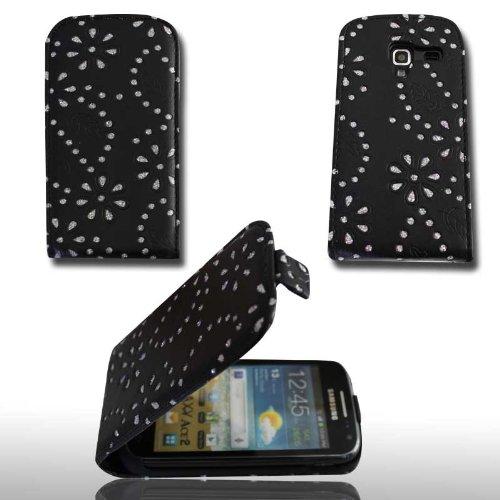 wicostar Funda diseño Funda Flip Style–Diseño No. 3con Strass–Cover Carcasa Case para Samsung i8160Galaxy Ace 2