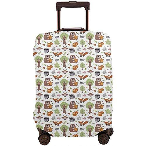 Reisegepäck-Abdeckung Gekritzel-Waldgeschöpfe als Honig-Bären-Kaninchen-Fuchs und Waschbär im Naturlebensraum-Koffer-Schutz Größe L