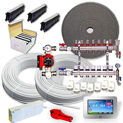 Kit completo de calefacción por suelo radiante de agua de 40 a 240 m² + centro de cableado + actuadores (160 m – 8 zonas, termostato táctil de gran color)