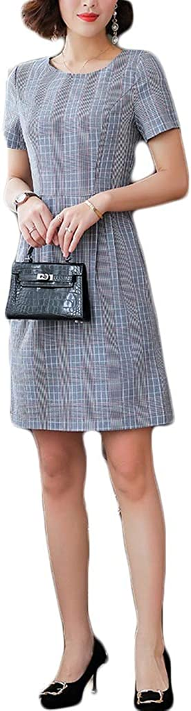 Dongjiguang Dress Easy-to-use Women's Plaid Round Wo Sleeve Neck Short half
