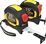 LEXIVON [2-Pack] 25Ft/7.5m Tape Measure, DuaLock & AutoLock   1-Inch Wide Blade with Nylon Coating, Matt Finish White & Yellow Dual Sided Rule Print   Ft/Inch/Fractions/Metric (LX-204)