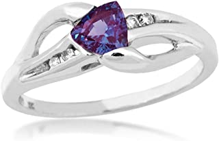 Genuine Trillion Cut Alexandrite Ring with .04 ct. tw. Diamond Accented Band in 10K White Gold - WHL7058DCRA