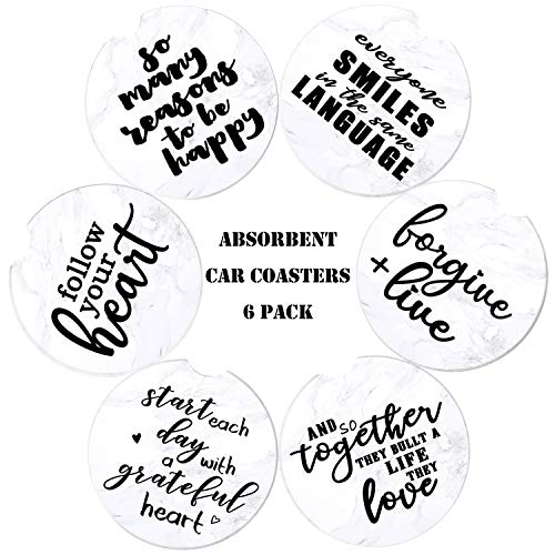 sedmart Car Coasters Absorbent for Cup Holders 6 Pack,Mandala Ceramic Stone Car Coasters,Car Cupholder Coaster for Drink Keep Vehicle Free from Cold Drink Sweat,2.56'…
