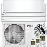 Cooper & Hunter Tri 3 Zone 9000 12000 12000 BTU Multi Zone Ductless Mini Split Air Conditioner Heat Pump WiFi Ready Full Set with 25ft Installation Kits